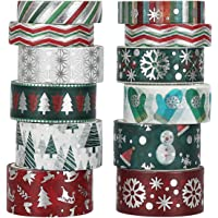 Christmas Holiday Washi Tape - 12 Rolls Winter Foil Washi Tape Set with Snowflake, Tree, Deer, Striped, Perfect for…