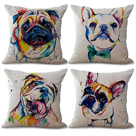 Gspirit 4 Pack Perro Algodón Lino Decorativo Throw Pillow Case Funda de Almohada para Cojín 45x45