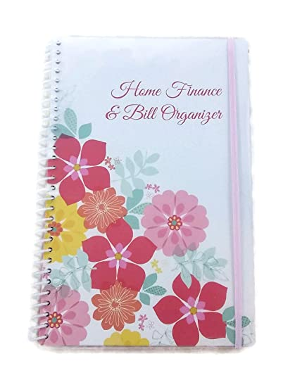 home finance bill organizer with pockets flowers