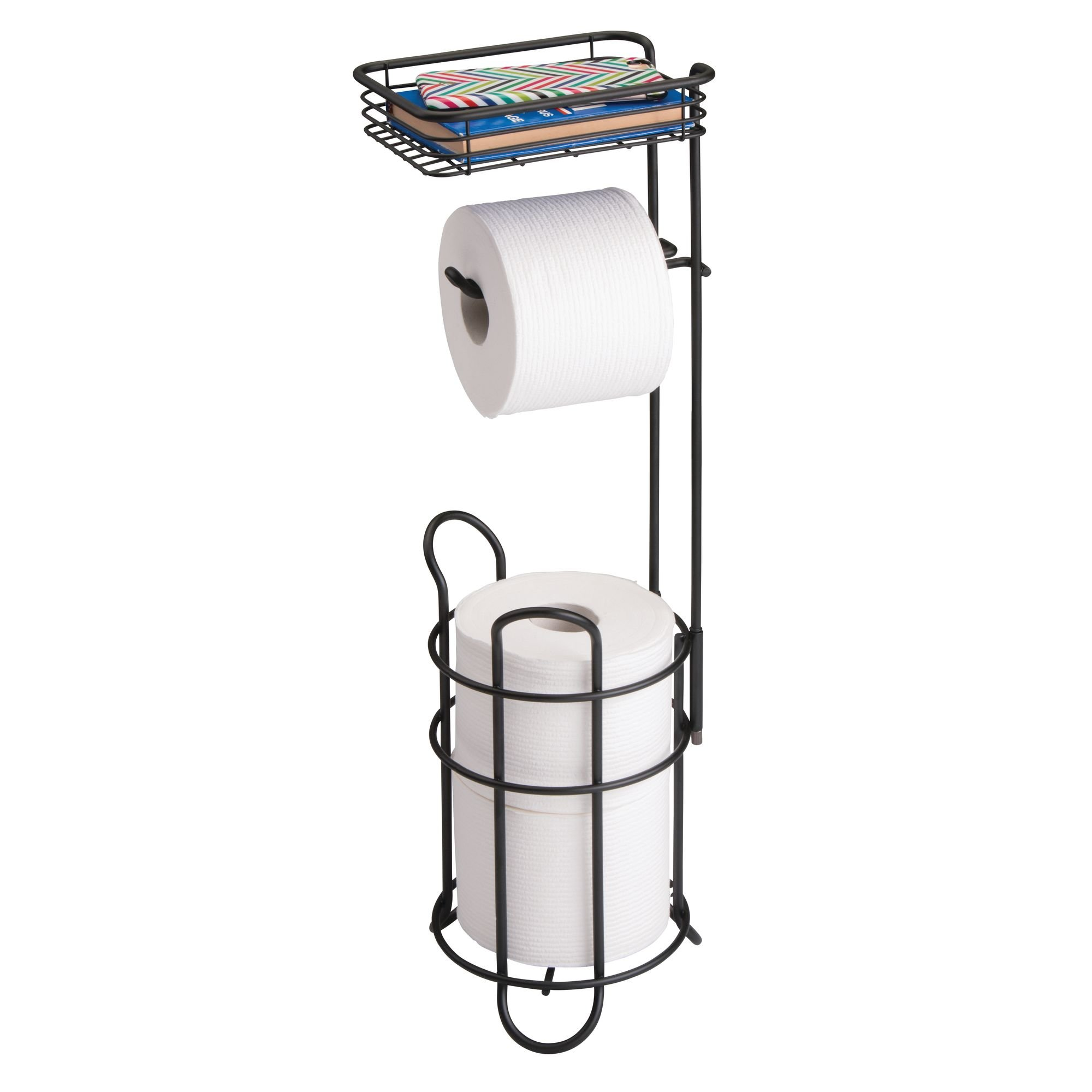 mDesign Freestanding Metal Wire Toilet Paper Roll Dispenser Holder and Extra Roll Reserve with Storage Shelf for Cell, Mobile Phone - Bathroom Storage Organization - Holds 3 Rolls - Matte Black