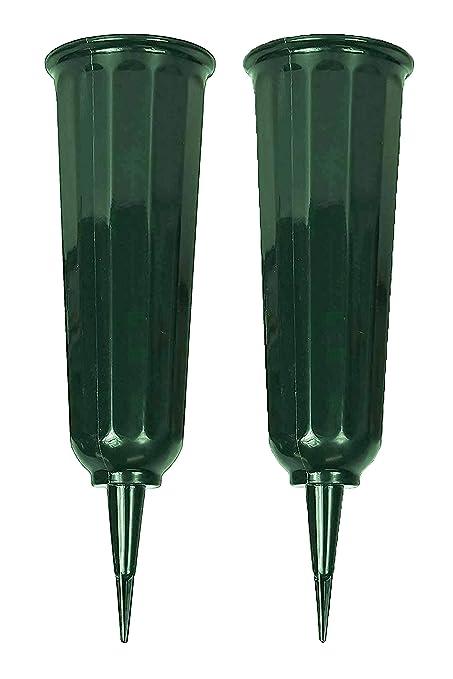 Amazon.com  Black Duck Brand Green 9.75\  Plastic Cemetery Memorial Grave Flute Flower Vases; 2 Pack  Silk Flowers Cemetery  Garden \u0026 Outdoor  sc 1 st  Amazon.com & Amazon.com : Black Duck Brand Green 9.75\