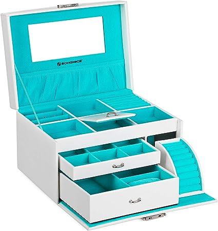 Boucles doreille Montres Blanc JBC114W Bracelets SONGMICS Coffret /à Bijoux Bo/îte /à Bijoux 22,5 x 17 x 13,5 pour Bagues