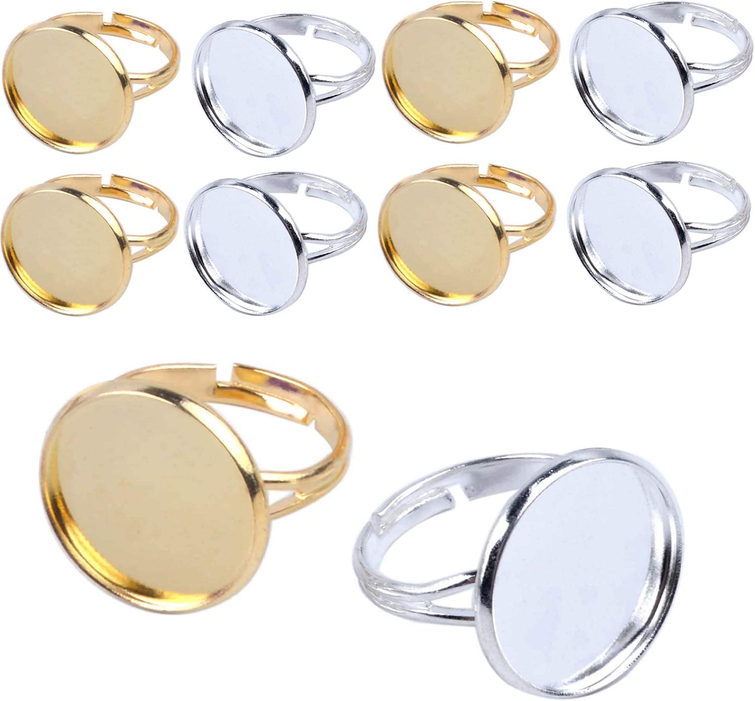 Gold and Silver Plated Jdesun 20 Pieces Ring Blanks with 12mm Adjustable Ring Bases Metal Round Finger Ring Trays