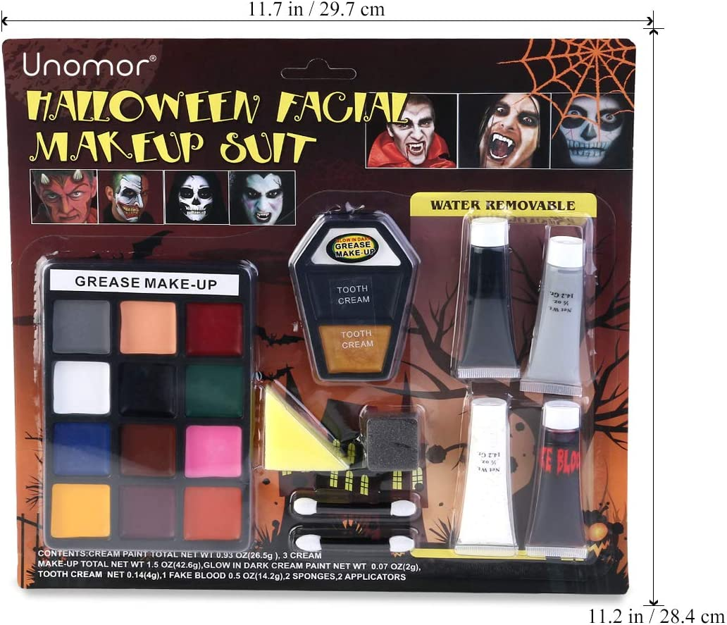 Face Paint Halloween Makeup Kits, Glow in Dark Grease Makeup for Halloween Vampire, Zombie & Witch Makeup