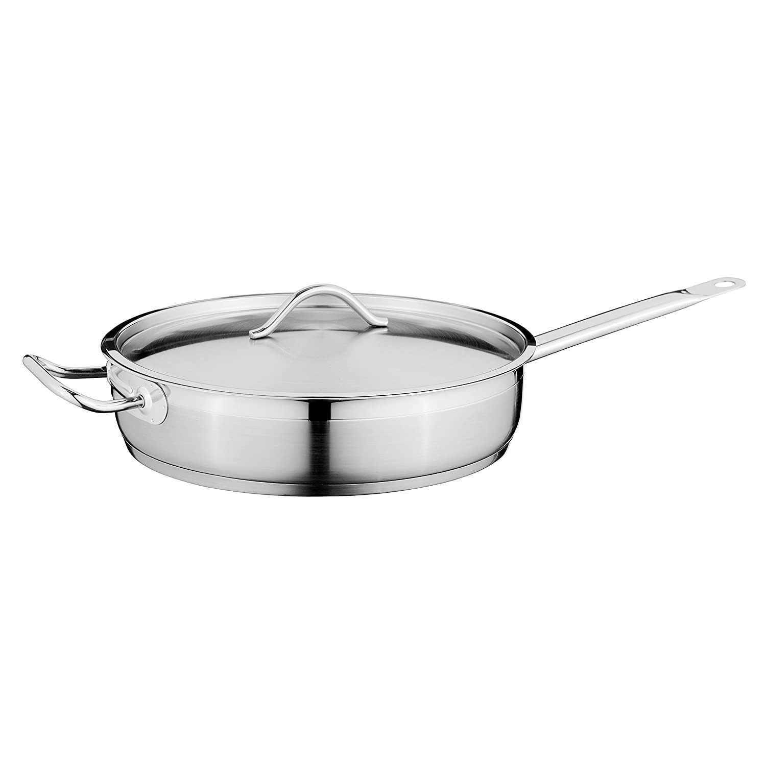 """Hotel 11"""" 18/10 Stainless Steel Covered Deep Skillet- Dishwsher and Oven Safe"""