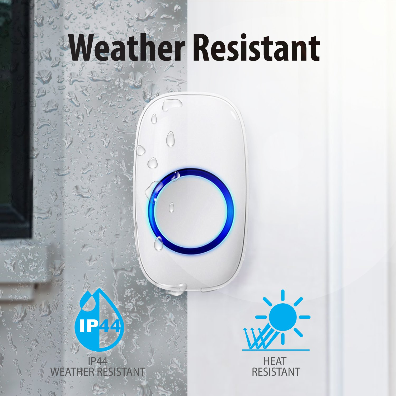 Fosmon WaveLink 51053HOMUS Wireless Doorbell (Operating Range: 1000ft / 300m | 52 Chime Tunes | 4 Volume Levels | LED Indicators) - 1 Remote Button, 2 Plugin Receiver