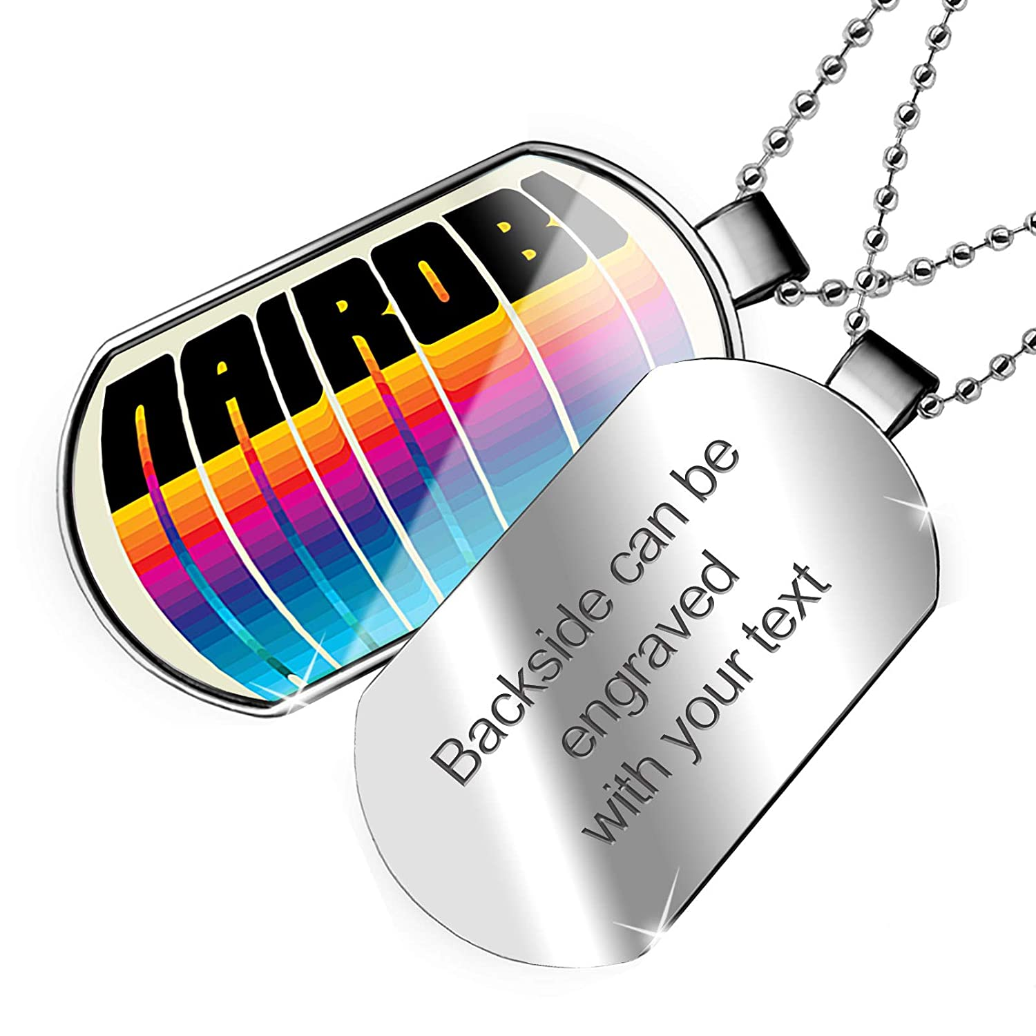NEONBLOND Personalized Name Engraved Retro Cites States Countries Nairobi Dogtag Necklace