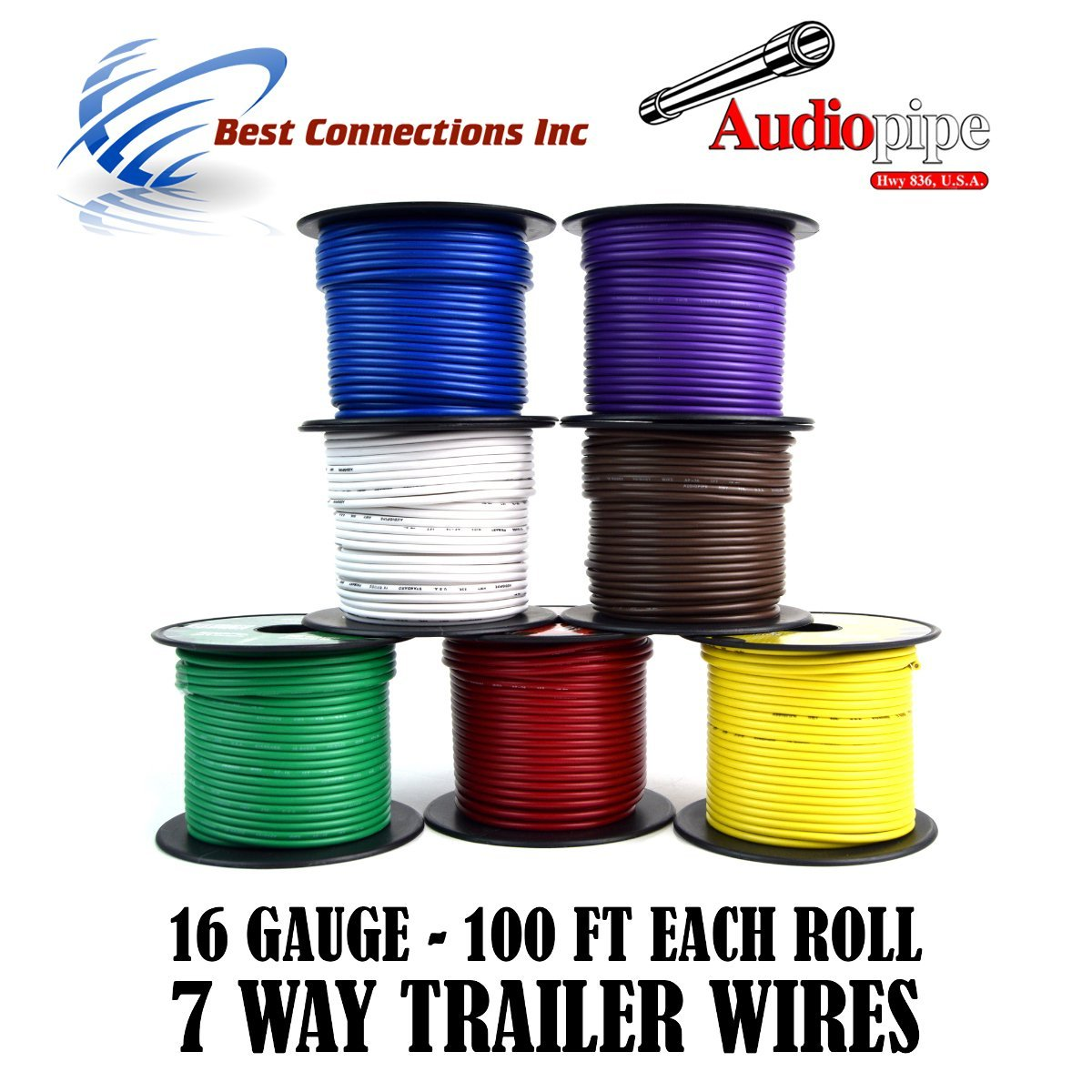 Amazon.com: Trailer Wire Light Cable for Harness 7 Way Cord 16 Gauge -  100ft roll - 7 Rolls: Automotive