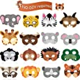 16 Piece Animal Masks Animal Costume Party Favors with 16 Different Animal Face for Petting Zoo Farmhouse Jungle Safari Theme Birthday Party Halloween Masks Dress-Up Party Supplies