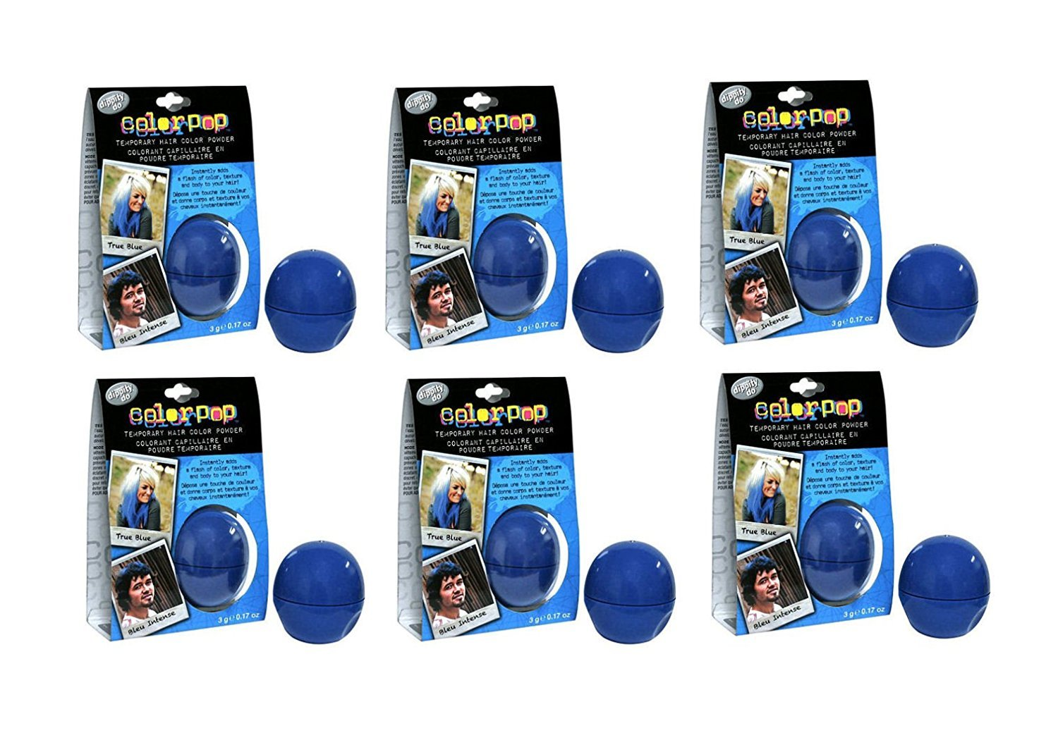 Bulk Buy: Lot of 6 Dippity-do Colorpop Temporary Hair Powder - Blue