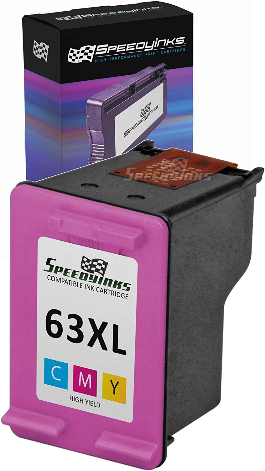 Speedy Inks Remanufactured Ink Cartridge Replacement for HP 63XL F6U63AN High Yield (Color)