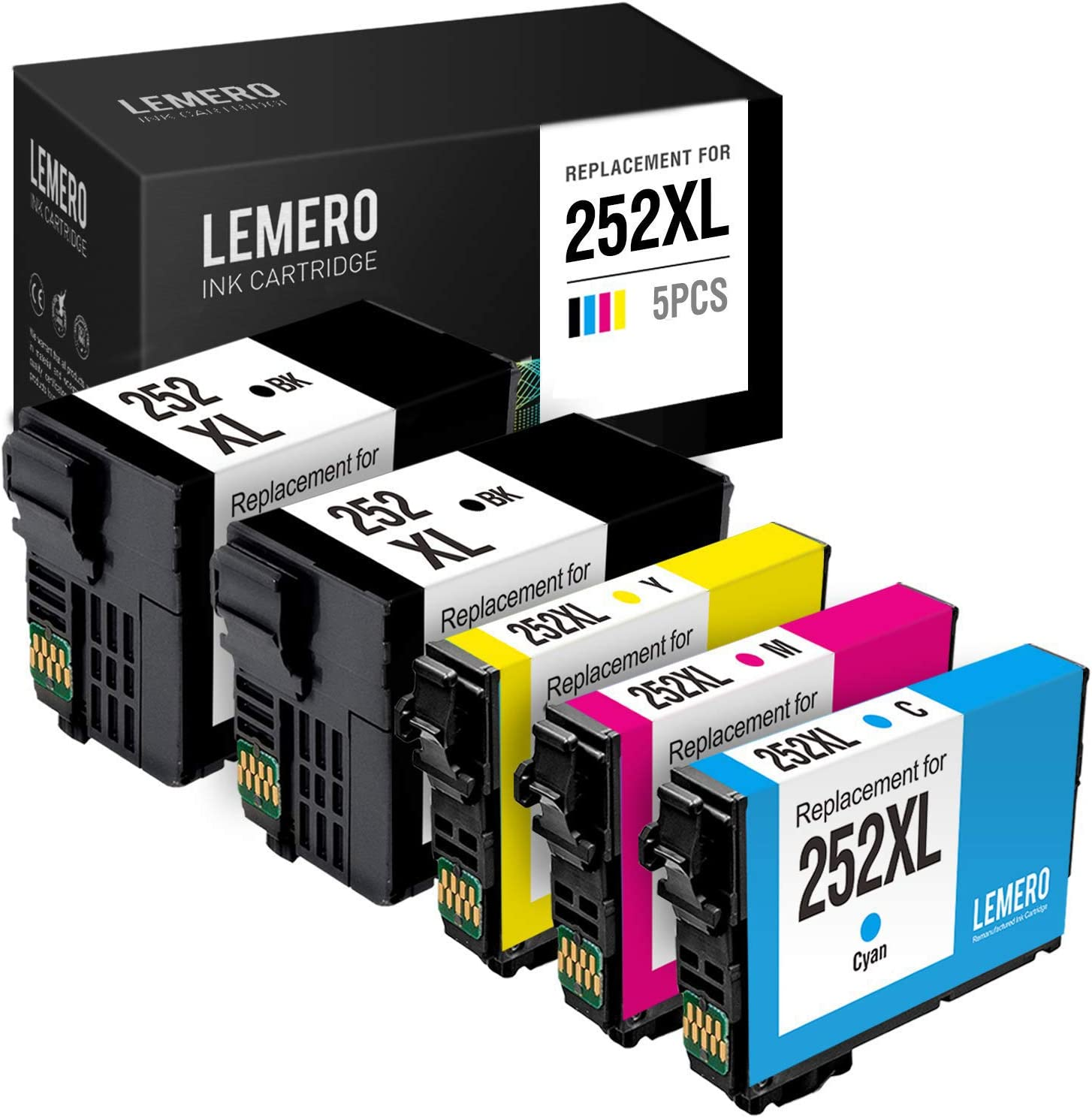 LEMERO Remanufactured Ink Cartridges Replacement for Epson 252 252XL 252 XL for Workforce WF-7720 WF-7710 WF-3640 WF-3620 WF-7620 WF-7610 WF-7210 (2 Black, 1 Cyan, 1 Magenta, 1 Yellow, 5-Pack)