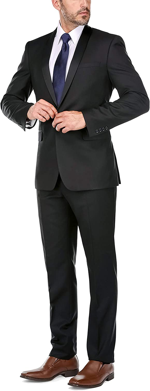 CHAMA Men's Tuxedo Suit Shawl Lapel Slim Fit 1 Button Single Breasted Tuxedo