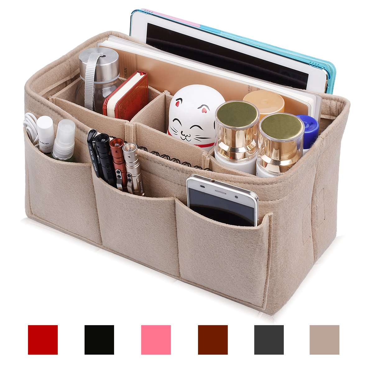 Hokeeper Felt Purse Insert Organizer, Handbag Organizer, Bag in Bag for Handbag Purse Tote, Diaper Bag Organizer, Stand on Its Own,10 Compartments, 4 Sizes, 6 Colors by Hokeeper