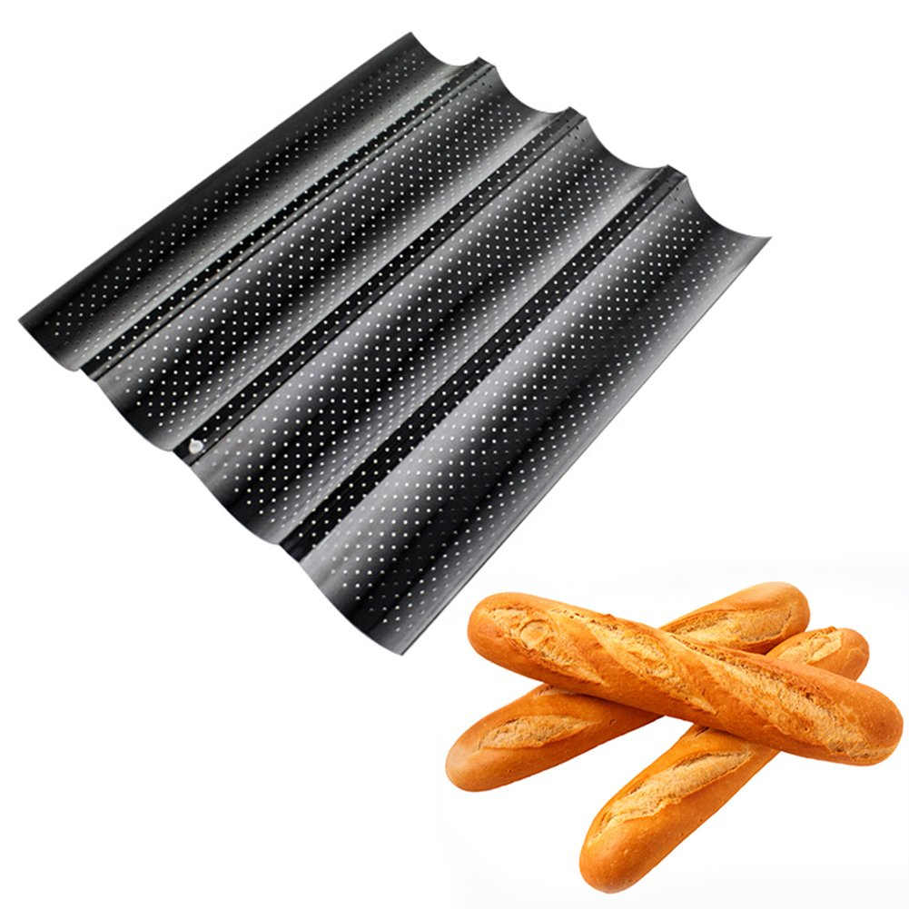 French Bread Baguette Pans Baguette Pan Bread Pan Moule A Pain Pan Baguette Non-Stick French Bread Pan For 4 Baguettes, Heavy-Duty Carbon SteelU-Shape Oven Roasting Baking Mould Silver PROKTH