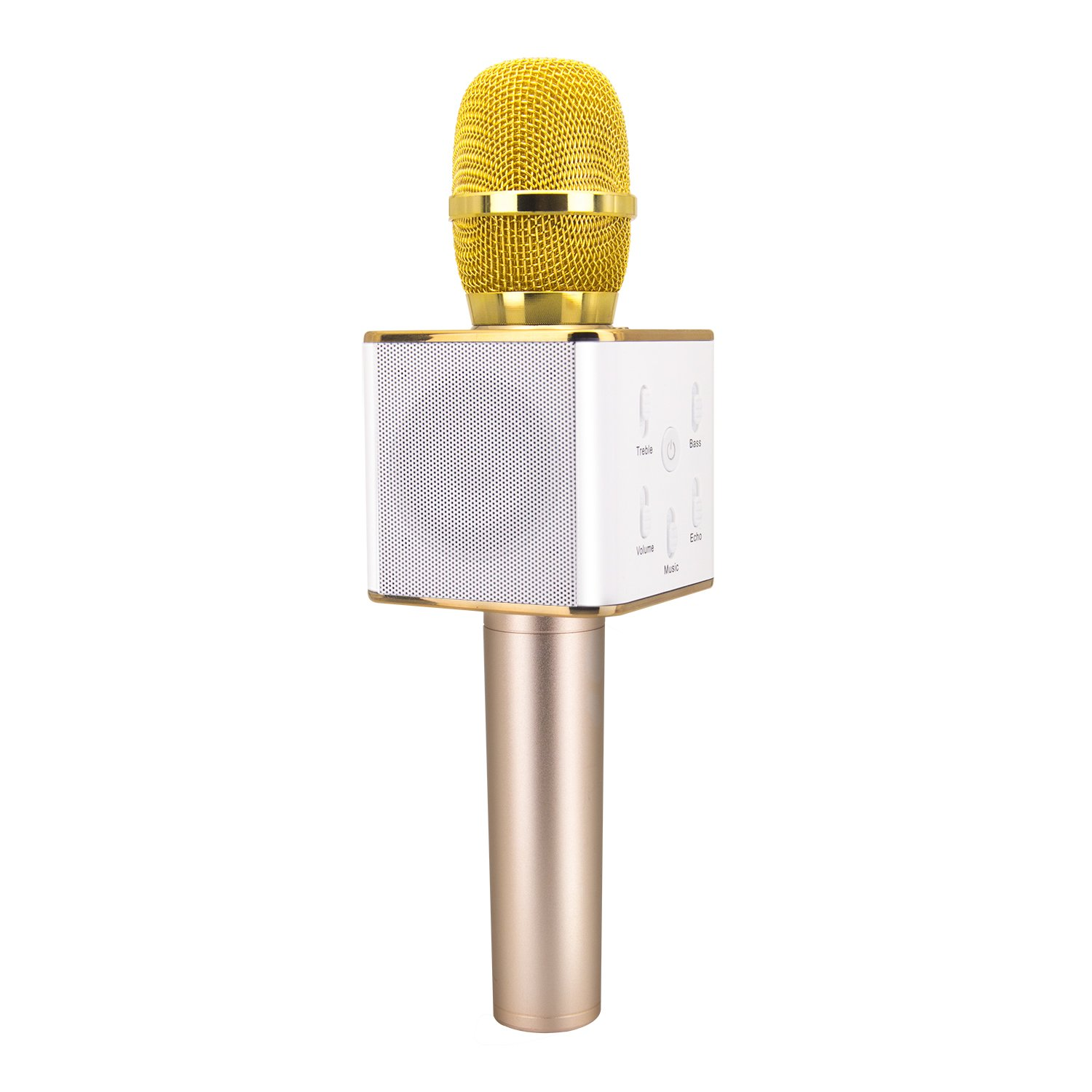 TOSING Q7 Wireless Karaoke Microphone Bluetooth Speaker 2-in-1 Handheld Sing & Recording Portable KTV Player Mini Home KTV Music Machine System for iPhone/Android Smartphone/Tablet Compatible (gold) MicrophoneMQ7-01