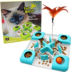 Cat Slow Feeder Cat Treat Toy, Cat Puzzle Feeder Food Dispenser, Interactive Treat Maze & IQ Training Toys for Cats - Slow Feeder Cat Bowl for Healthy Eating Diet