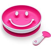(跨境自营)(包税) Munchkin 满趣健 婴童自主进食训练套组(吸盘笑脸盘 + 左右手训练勺) 粉色