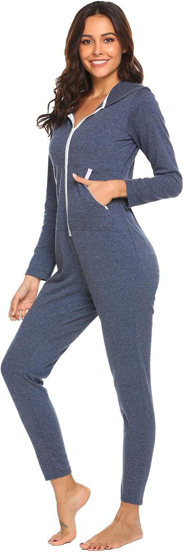 Ekouaer Onesies Zipper Up Union Jumpsuit One Piece Base Layers Hooded Sweatshirt Sleepwear for Women