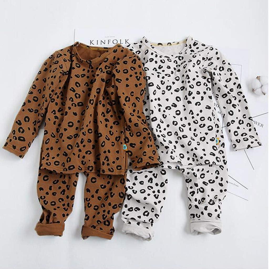 Wanshop Ensemble pyjama /à manches longues pour b/éb/é gar/çon et fille Motif l/éopard