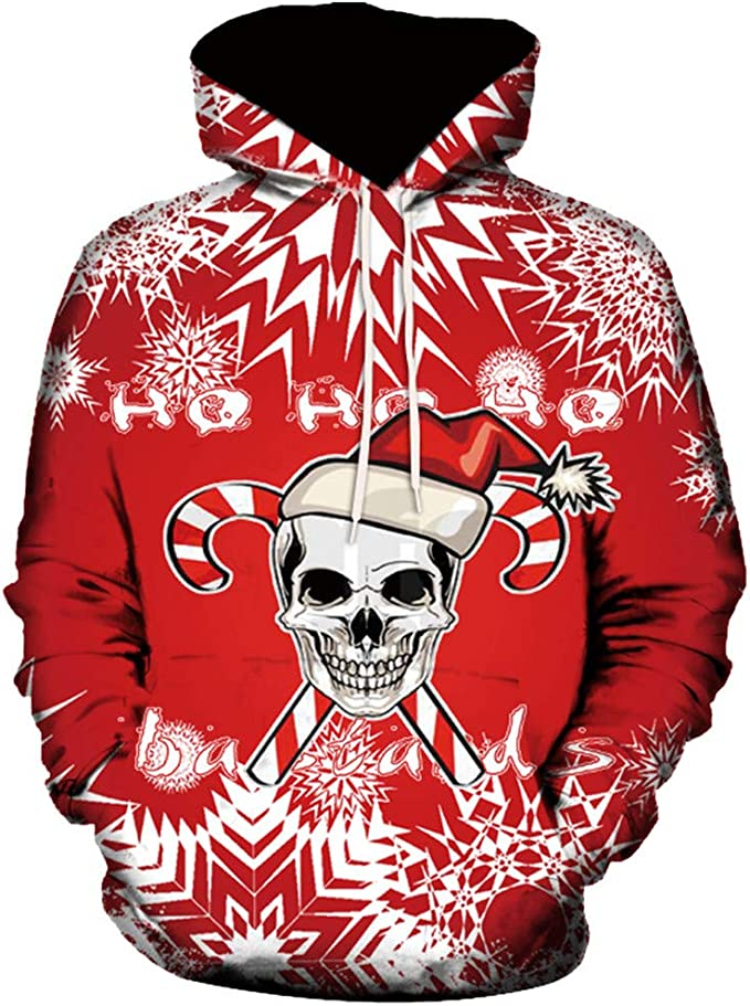 Houshelp Mens Hooded Long Sleeve 3D Digital Print Sports Pullover Hoodies Crew Neck Pullover Sweatshirts with Pockets