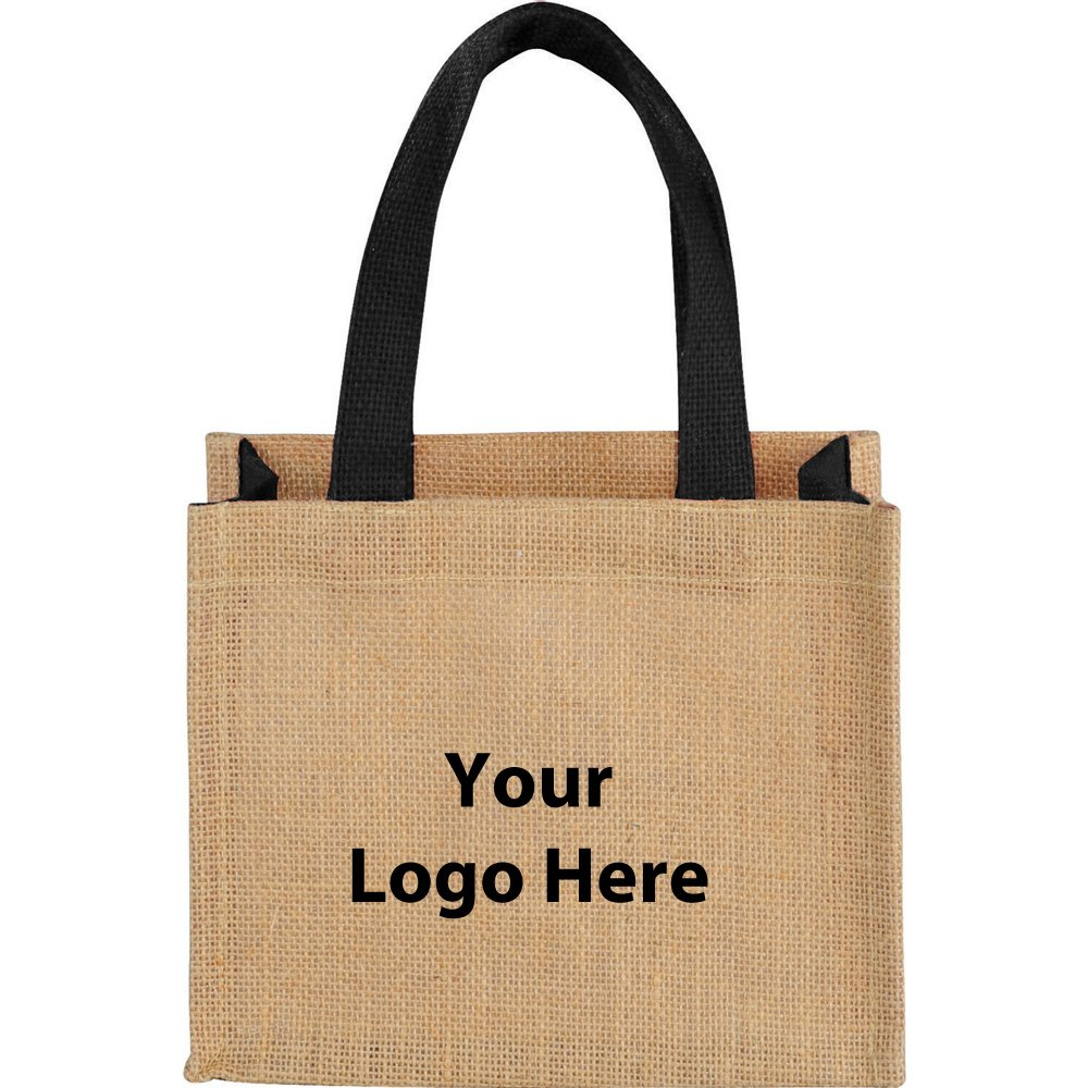 Mini Jute Gift Tote - 200 Quantity - $2.30 Each - PROMOTIONAL PRODUCT / BULK / BRANDED with YOUR LOGO / CUSTOMIZED