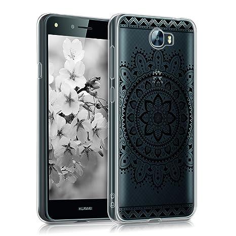 kwmobile Funda para Huawei Y6 II Compact (2016) - Carcasa de [TPU] para móvil y diseño de Flores Aztecas en [Negro/Transparente]