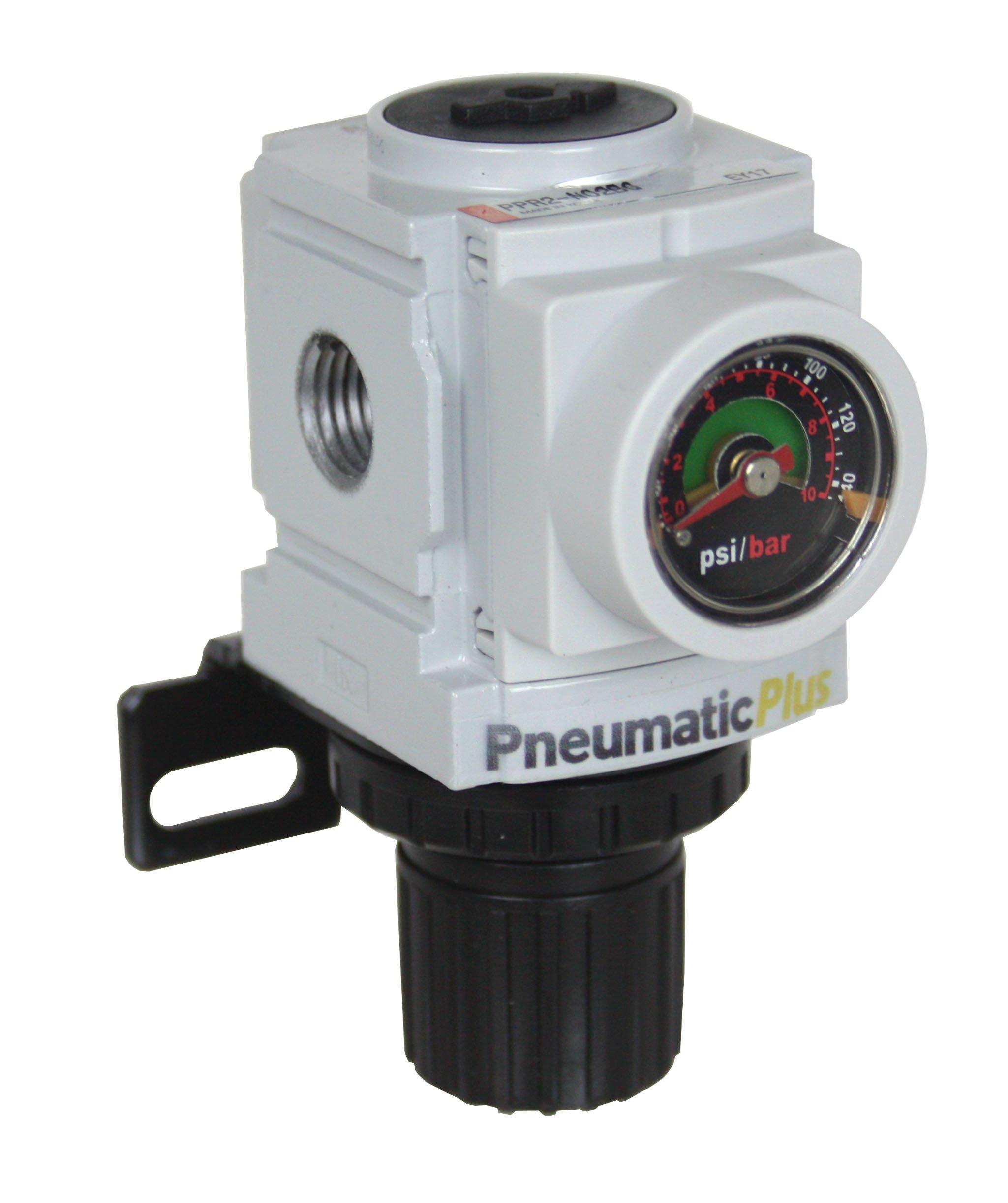 PneumaticPlus PPR2-N02BG Miniature Compressed Air Pressure Regulator 1/4'' NPT - Embedded Gauge, Bracket by PneumaticPlus