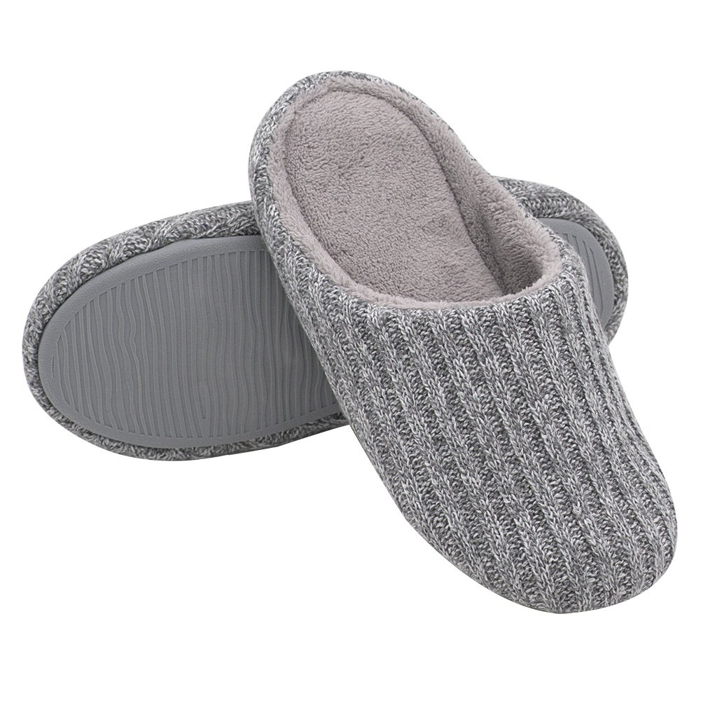 HomeIdeas Women's Cotton Knitted Anti-Slip House Slippers (Medium / 7-8 B(M) US, Light Gray)