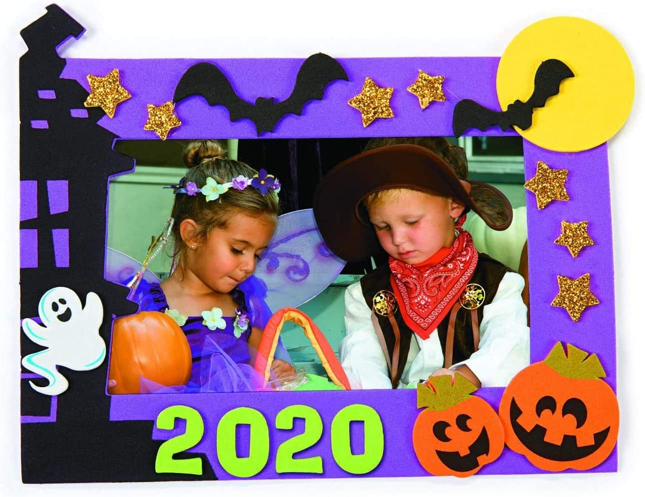 Classroom Arts /& Crafts with Stickers 4Es Novelty Halloween Crafts for Kids for School Home Group Activities Self Adhesive Foam Picture Frame Craft Kit 2020 Dated Makes 12 Party Supplies