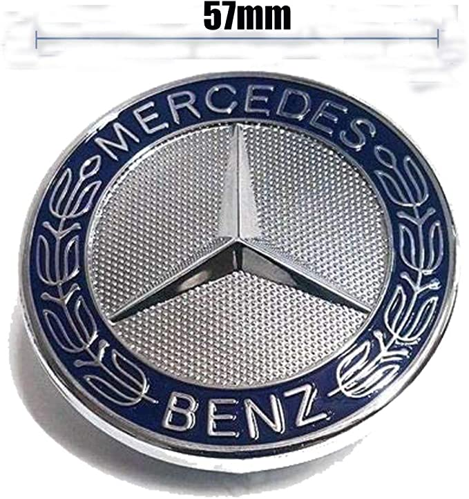 57MM Chrome Mercedes Benz Logo Flat Hood Star Emblem Badge for Mercedes Benz C E SL Class Decoration. Black