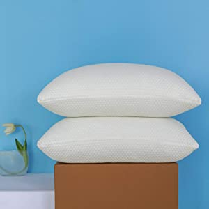 Molblly Shredded Memory Foam Bed Cooling Pillows Set of 2 Pack Standard Size Pillows 20 x 26 in,Adjustable Loft Hypoallergenic Washable The Pillow for Side Back Stomach Sleeper Pillows for Sleeping