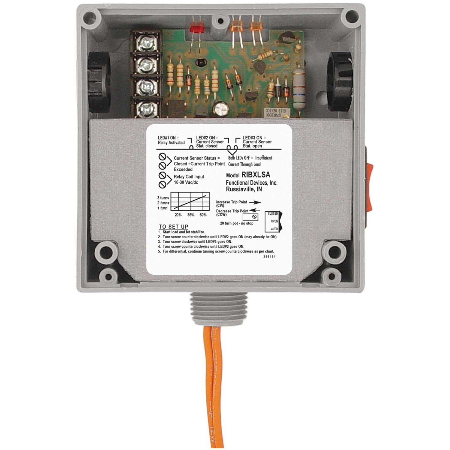 Functional Devices Ribxlsa Enclosed 10 Amp Relay Current Switch Input Combination Adjustable And Override Electronic Relays Industrial