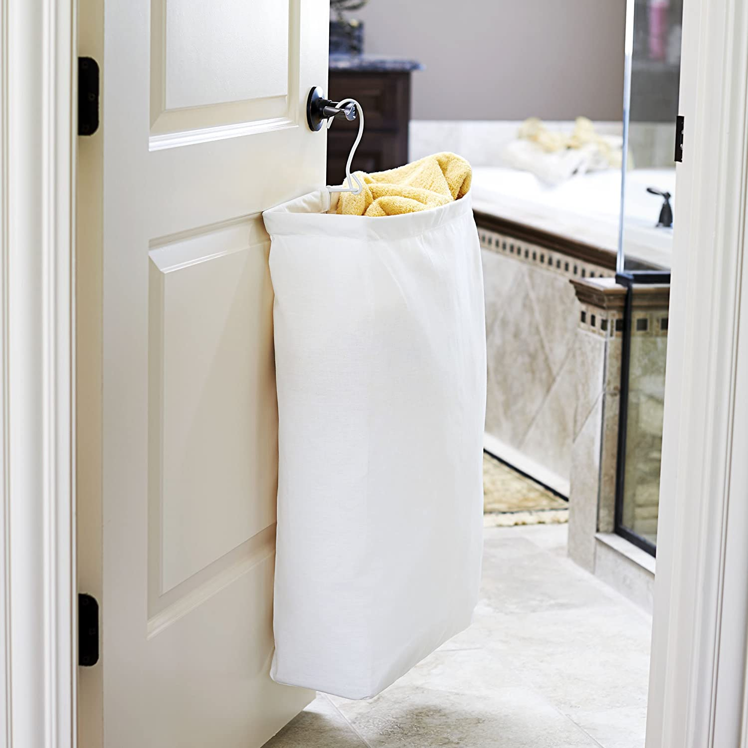 Amazon: Household Essentials 148 Hanging Cotton Canvas Laundry Hamper  Bag  White: Home & Kitchen