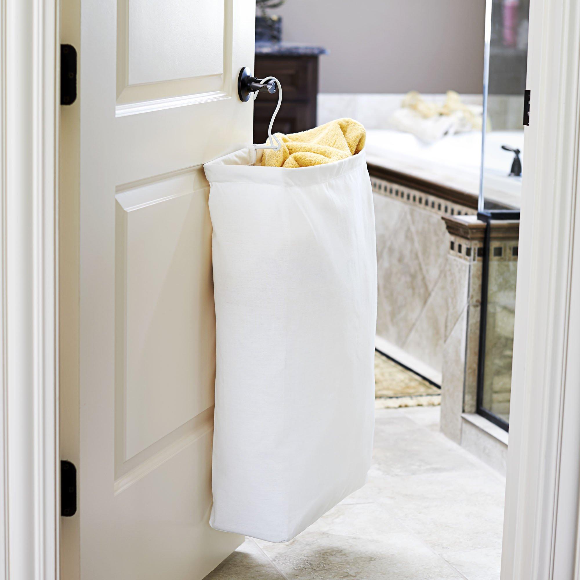 Household Essentials 148 Hanging Cotton Canvas Laundry Hamper Bag | White by Household Essentials (Image #4)
