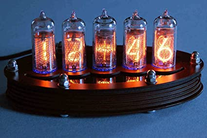 Kit de montaje de reloj de 5 tubos Nixie, con lámina superior de