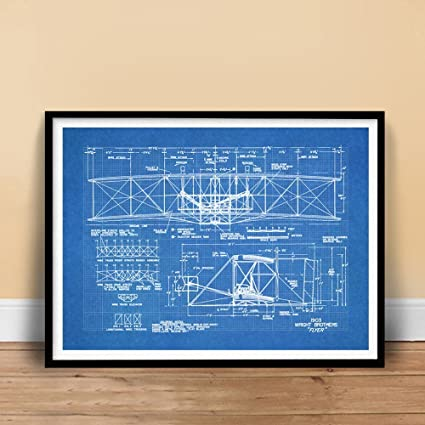 Amazon steves poster store wright flyer first airplane 1903 steves poster store wright flyer first airplane 1903 blueprint art 18x24 print poster brothers orville wilbur malvernweather Gallery