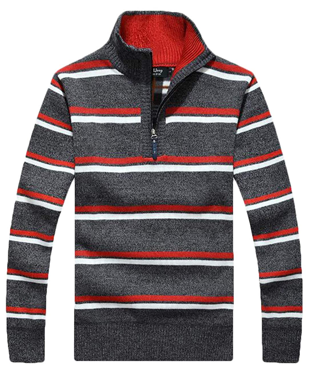 Hurrg Mens Striped 1//4 Zipper Pullover Fashion Warm Lined Stand Collar Sweater