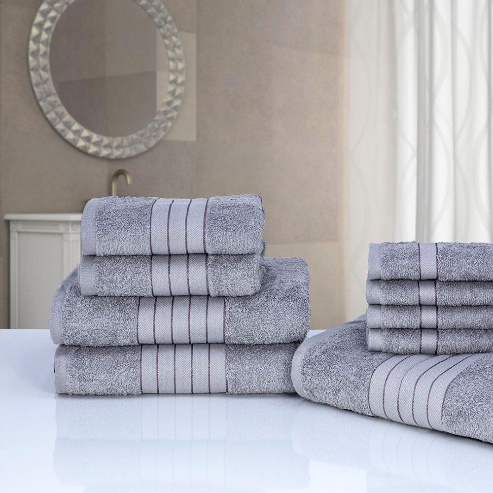 Dreamscene Luxury 100% Egyptian Cotton 9 Piece Bathroom Towel Bale Face Bath Hand Gift Set, Silver TB9SI485