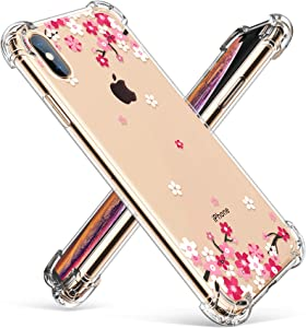 GVIEWIN Compatible for iPhone Xs/X Case, Clear Flower Pattern Design Soft & Flexible TPU Ultra-Thin Shockproof Transparent Floral Cover, Cases iPhone X/iPhone 10 (Peach Blossom/Pink)