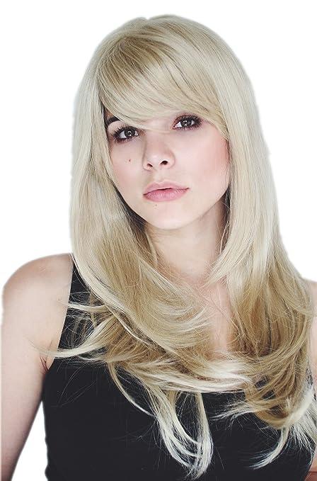 Prettyland C495 - 60cm biondo fasi di taglio sfrangiati lisci parrucca capelli  lunghi leggermente ondulati e4b3c7d6d8aa