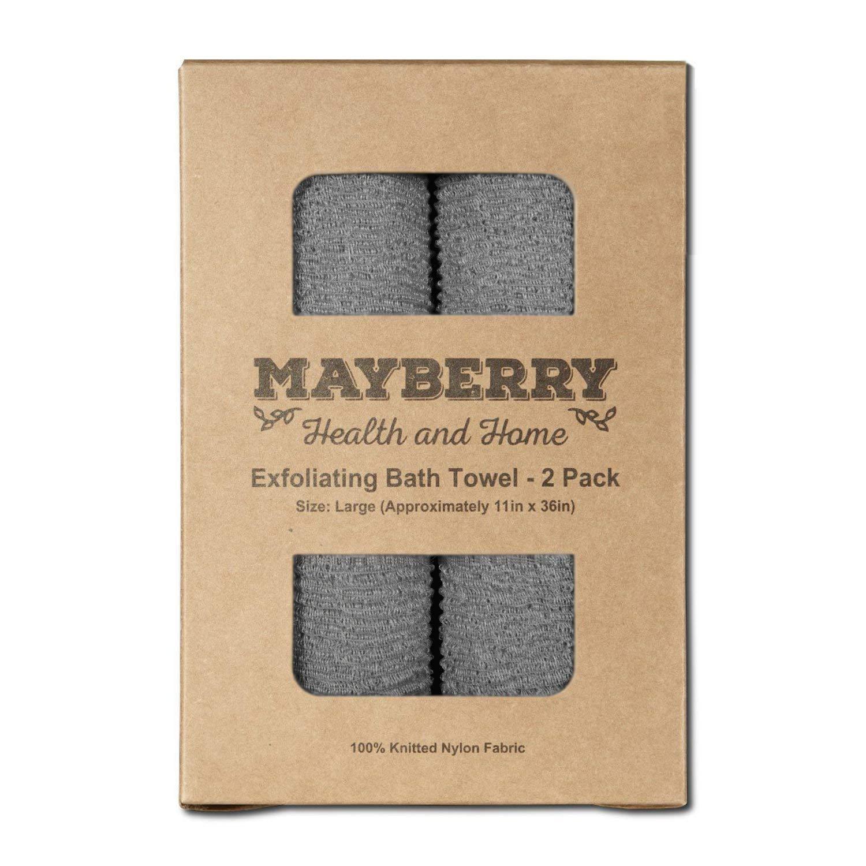 Extra Long Exfoliating Bath Cloth/Towel - 2 Pack - 36'' Long, Gray Nylon Bath Cloth/Towel, Stitching on All Sides for Added Durability