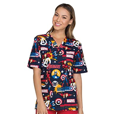4df0396cf63 Image Unavailable. Image not available for. Color: Cherokee Tooniforms By  Unisex V-Neck Marvel Print Scrub Top ...