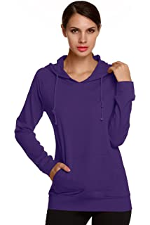 Zhusheng Womens Plus Size Solid Color Pullover String Hoodie