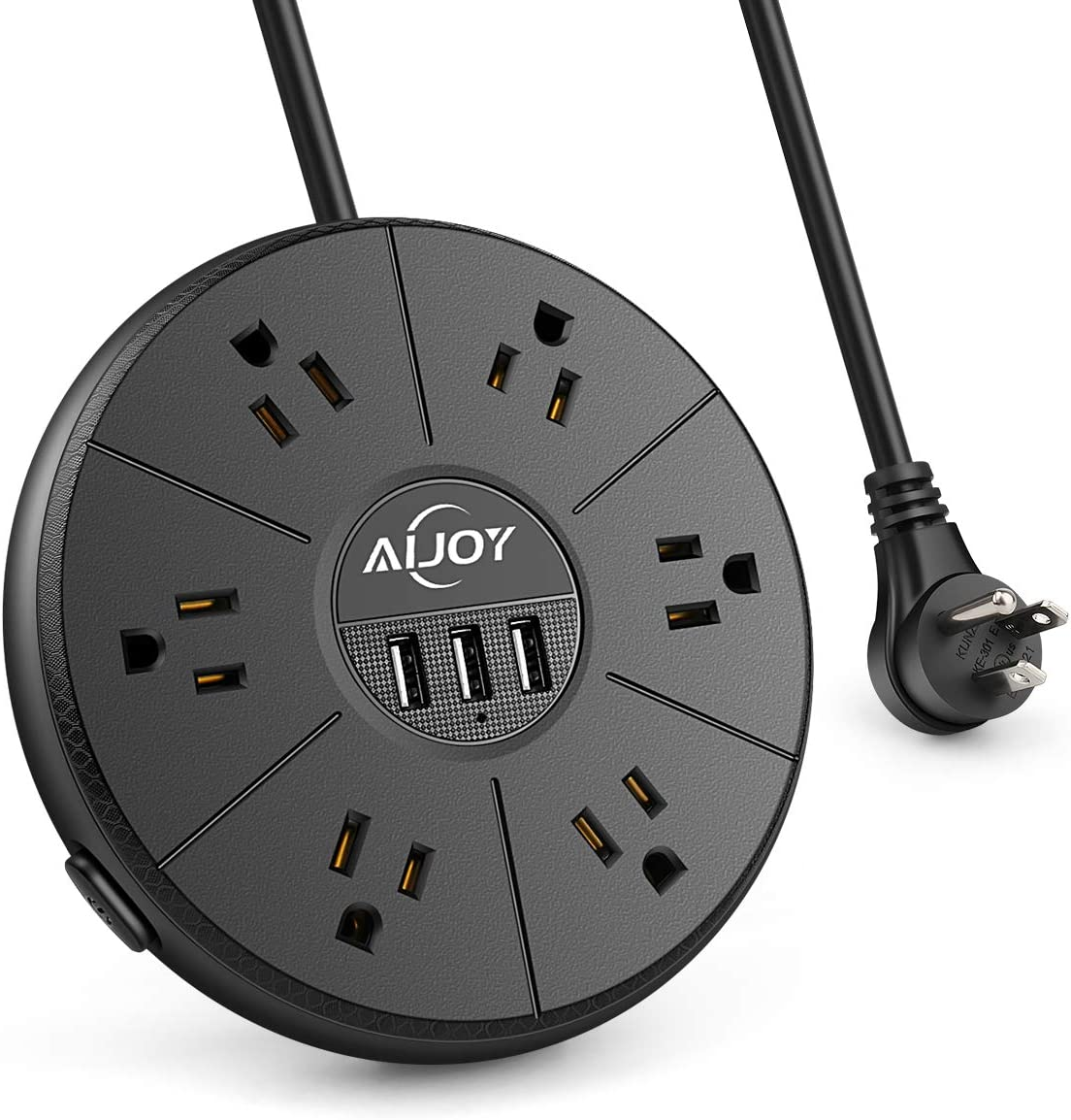 AiJoy Power Strip Surge Protector Socket 6 AC Outlets with 3 USB Ports Fast Charging 6.5 Ft Extension Cord Compact Size