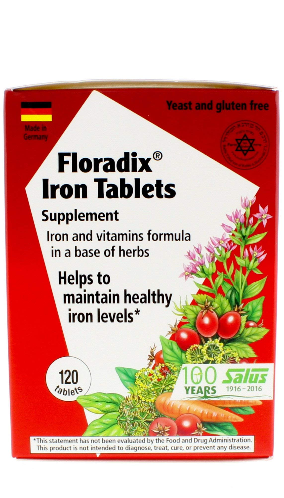 FLORA - Floradix Iron Tablets, Vegetarian, Tablet, by Salus, 120 Count