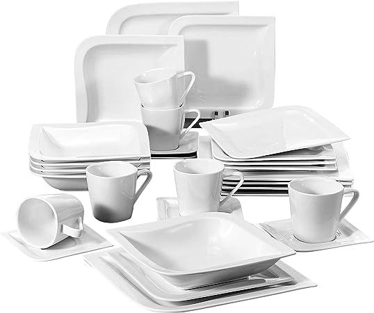 12 Assiettes à Dessert Malacasa 12 Assiettes à Soupe 12 Tasses Série Elvira 60pcs Services de Table Complets Porcelaine 12 Assiettes Plates pour 12 Personnes 12 Soucoupe