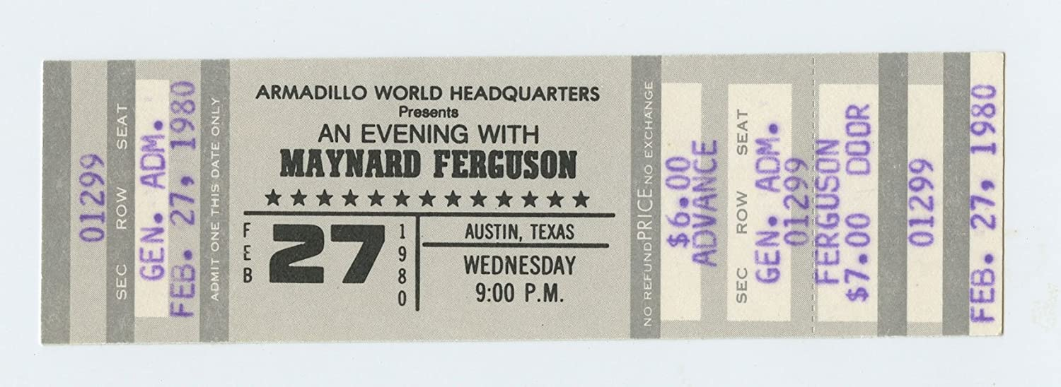 Maynard Ferguson Ticket 1980 Feb 27 Austin TX Unused