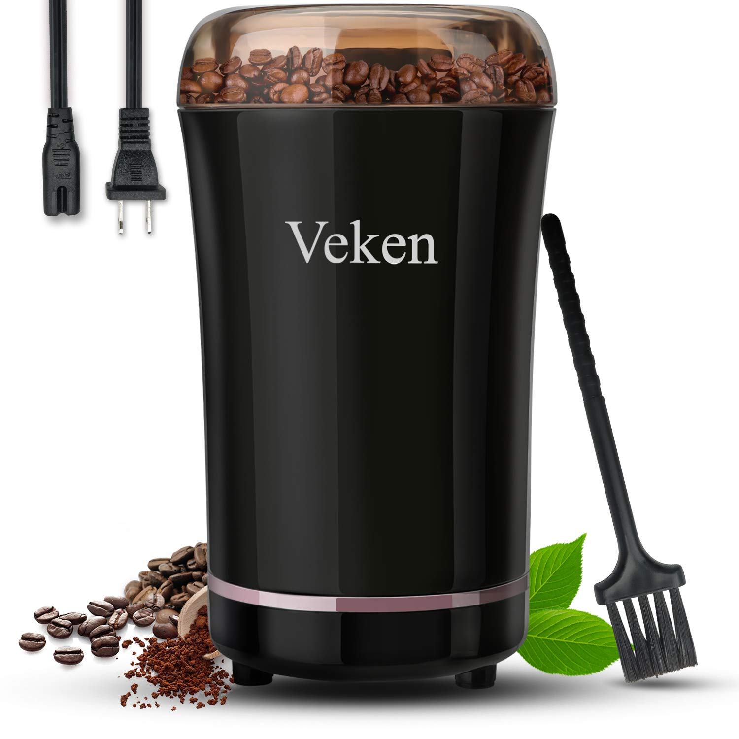 Veken Coffee Grinder Electric Spice & Nut Grinder with Stainless Steel Blade, Detachable Power Cord Coffee Bean Grinder for Coffee Grounds, Grains, 12 Cups (black)