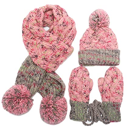 MERRYHE Mujeres Niñas Gorros De Invierno Sombreros Guantes Bufanda Conjunto  Cálido Gorras Elásticas Bufandas Gorro con abbbf1a90fb